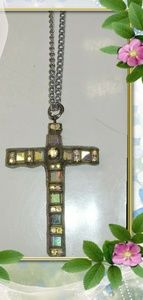 Crystal cross necklace.